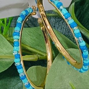 Kenneth Cole NY Seed Bead Hoops Blue
